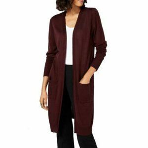 NWT Alfani Midi Pocket Cardigan, Wine M